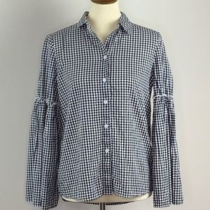 BeachLunchLounge Gingham Bell Sleeve Button Blouse